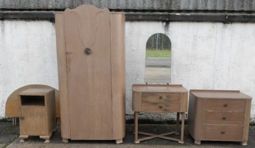 Five Piece Deco Style Limed Oak Bedroom Suite